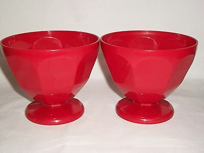 Red Kitchen Set of 4 Plastic 17oz Ice Cream Sundae Bowls Dessert Picnic Pool BBQ (Red Plastic Bowls)