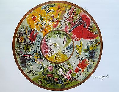"""MARC CHAGALL """"PARIS OPERA CEILING"""" Signed Numbered Lithograph Art"""