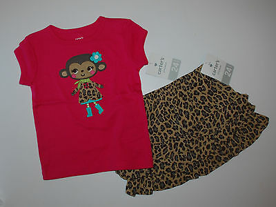 Kombination~Carter's~USA~2 tlg~80-86~T-Shirt+Rock~Affe~getigert~Set~pink~NEU~