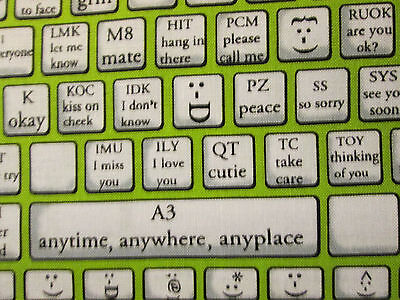 KEYBOARD TYPING COMPUTER PHONE TABLET EMOTICONS GREEN COTTON FABRIC FQ  for sale  Shipping to India