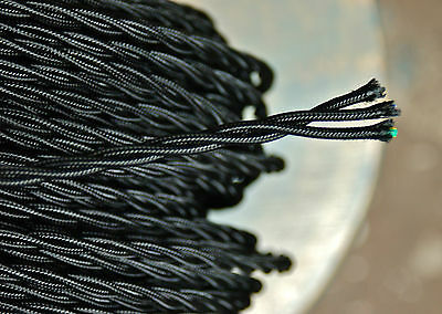 Black Twisted 3-Wire Cloth Covered Cord, 18ga. Vintage Lamp Antique Lights Rayon