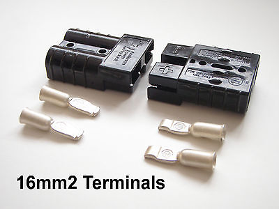 PAIR 50 AMP ANDERSON CONNECTOR 16mm CABLE TERMINALS DURITE, REMA, SLAVE ASSIST