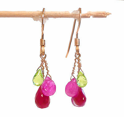 "real peridot pink sapphire ruby gemstone dangle drop earrings 1.2"" 2.8cm"