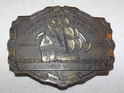 Vintage Livingston Wells   Co Gold Dealers Australia S  Africa Ship  Belt Buckle