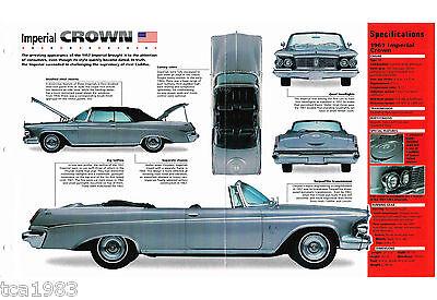 Chrysler IMPERIAL CROWN SPEC SHEET / Brochure: 1962,1963, '63