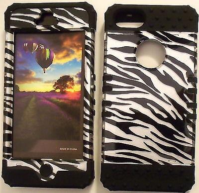Silver Zebra Black Skin Hybrid Apple iPhone 5 Rubber Hard Protector Cover -