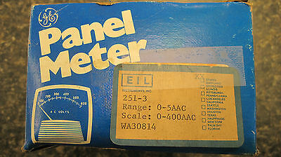 General Electric 251-3 Panel Meter Scale 0-400 Aac