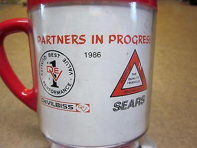 DEVILBISS vtg plastic 1986 coffee mug SEARS logo Quality (Logo Plastic Mugs)