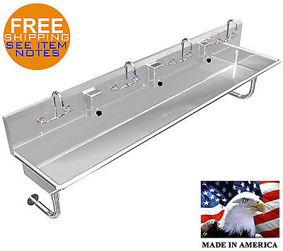 Multistation 4 User Wash-up Hand Sink 96 Manual Faucets Stainless Steel 304
