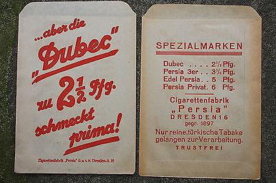 13314b 2 PERSIA Zigaretten Papiertüten DRESDEN 1935 2 old paper bags cigarettes