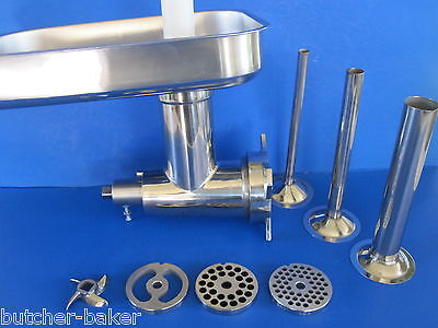 12 Stainless Meat Grinder For Hobart Mixer W Sausage Tubes A200 4212 D300 H600