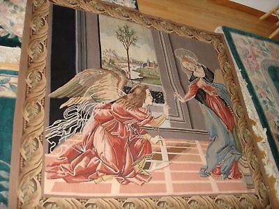 VINTAGE  WALL WOVEN ORIENTAL RUG TAPESTRY ANGEL GENUINE WOOL HAND MADE (Oriental Angels)