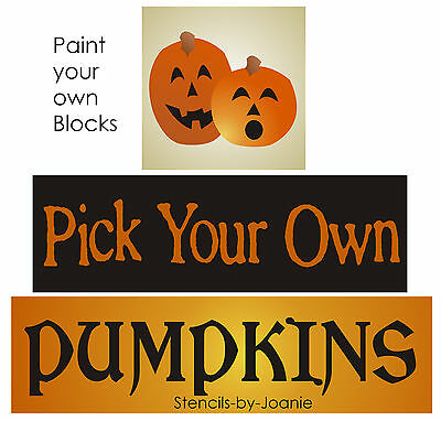 Country Halloween Stencils (Joanie Halloween Stencil You Pick Your Own Pumpkins Fall Harvest Country)
