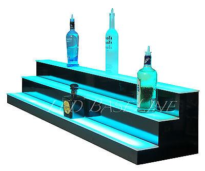 90 Lighted Bar Shelf 3 Steps Led Liquor Bottle Glorifier Back Bar Shelving