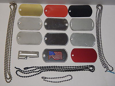 MILITARY DOG TAGS ID SAMPLE PACK ISSUED P-38 BLANK BULK 16 PIECES