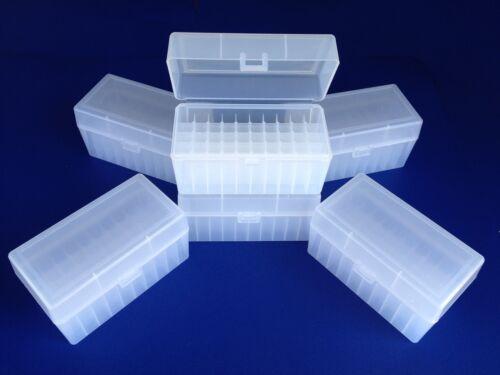 Plastic Ammo Box (Lot of 6) 50 Round, 243, 308, 30-30, 22-250, Made USA, MR-50