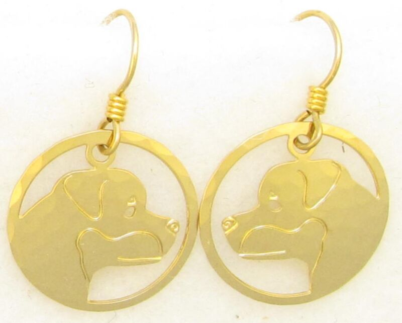 Rottweiler Jewelry Rottweiler Gold Dangle Head Earrings by Touchstone