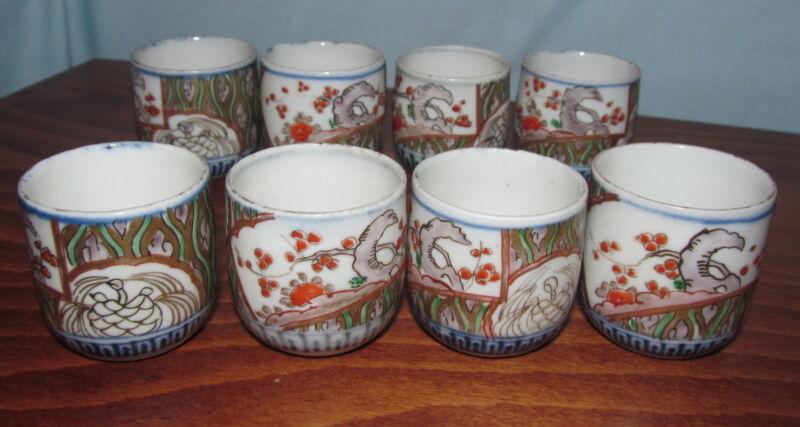 8 Japanese Antique Imari Porcelain Saki Cups