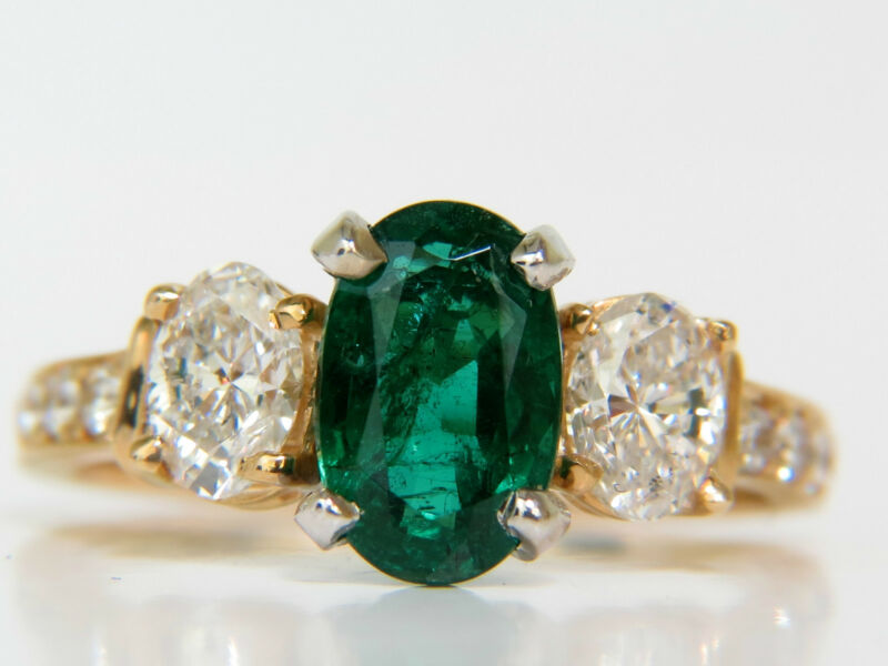 3.20ct Natural Emerald Diamond Ring Classic 3 14kt A+ Zambia $12000 Appraisal