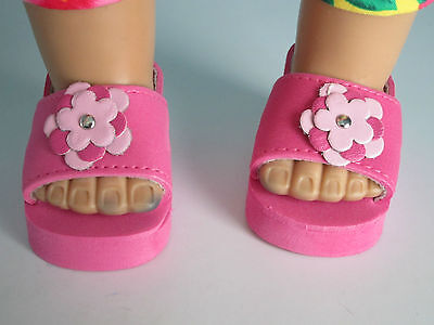 PINK SANDALS w/Layered Flowers fit American Girl & Bitty Baby - VERY Easy to Use