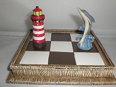 Dolphin Lighthouse Pieces Tic-Tac-Toe Nautical Tactile Fun Board Game Travel NIB ()