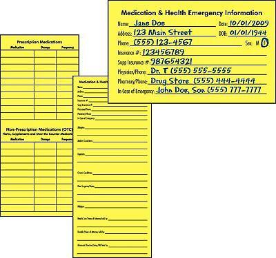 10 Medication & Health Emergency Information Cards - Medical Information Cards