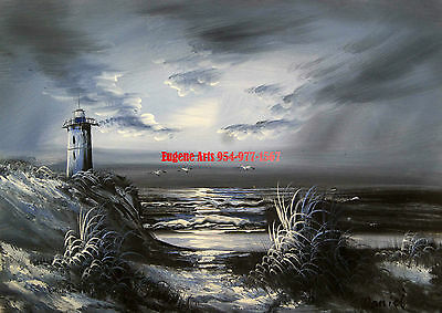 12X16 100  Hand Painted  Ocean   Beach  Sand Dune   Black White   Light House