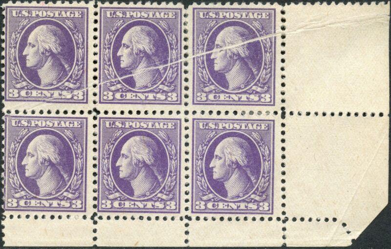 "#529 Var. ""3¢ Washington"" L.r. Block Of 6 W/ Pre-print Paper Fold Error Bp3565"