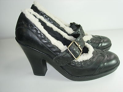 (WOMENS BLACK LEATHER AEROSOLES MARY JANES SANDALS CAREER HEELS SHOES SIZE 5.5 M)