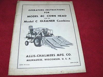 Allis Chalmers Model 4c Corn Head For C Gleaner Combine Operators Manual
