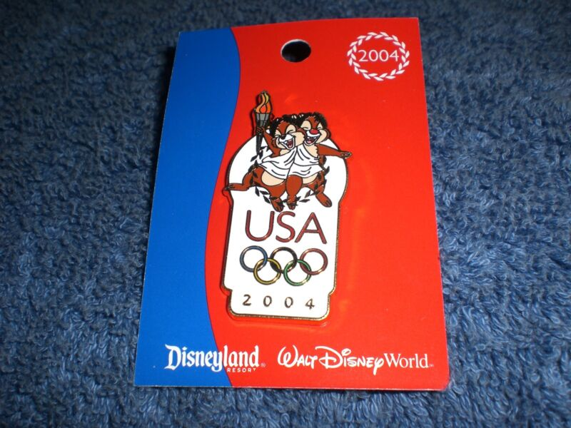 Disney 2004 USA Olympic Rings Logo CHIP/DALE WITH LAUREL WREATHS  Pin