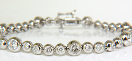 3.65ct Grand Bezel Diamond Tennis Bracelet 14kt Flush Smooth+