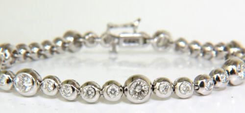 █$12500 Video 3.65ct Grand Bezel Diamond Tennis Bracelet 14kt Flush Anti Catch █