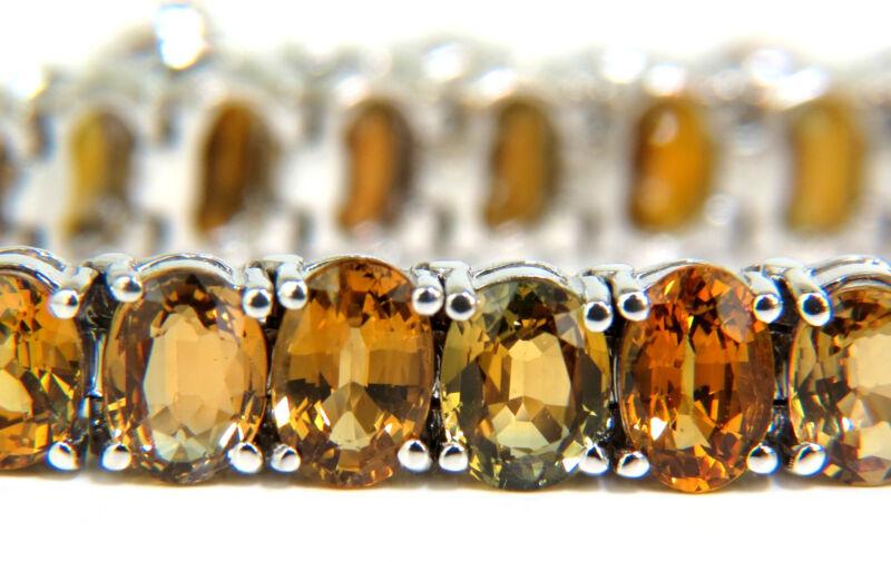 26.00ct Natural Fine Yellow Orange  Sapphire Tennis Bracelet 14kt Vivid+