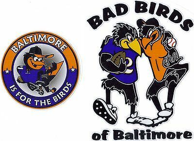 (2) BAD BIRDS OF BALTIMORE RAVENS ORIOLES WINDOW DECAL SET W/ IS FOR THE BIRDS