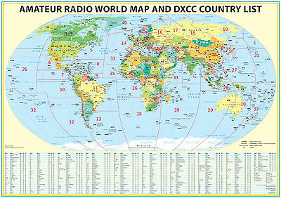 """Used, 2018 Ham Radio Map with DXCC lookup table 23x33"""". Amateur Radio Prefixes for sale  Shipping to India"""