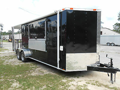 New 7x22 7 X 22 Enclosed Concession Food Vending Bbq Porch Trailer Must See