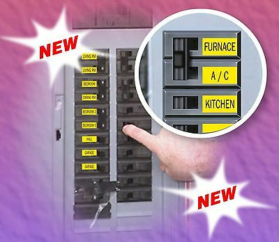 """Circuit Breaker Labels for Home and Shop Electrical Box """"Apply right to Switch"""""""
