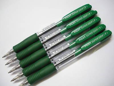 6pcs Pilot Retractable Super Grip 0.7mm Ball Point Pen Green Ink