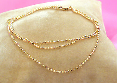 mini ball chain solid 14k yellow gold necklace 18