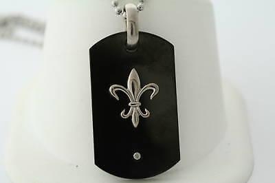 Black Ion Plated Titanium .03ct Genuine Diamond Fleur-de-Lis Dog Tag Necklace