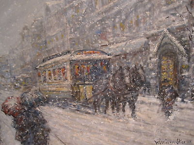 ANTIQUE AMERICAN IMPRESSIONIST PAINTING MANHATTAN STYLE HASSAM NY HORSE TROLLEY