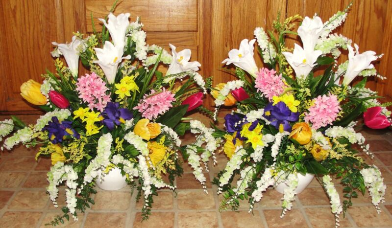 Spring Flower Arrangements Church Silk Wedding Altar Vases Receptions Cemetery