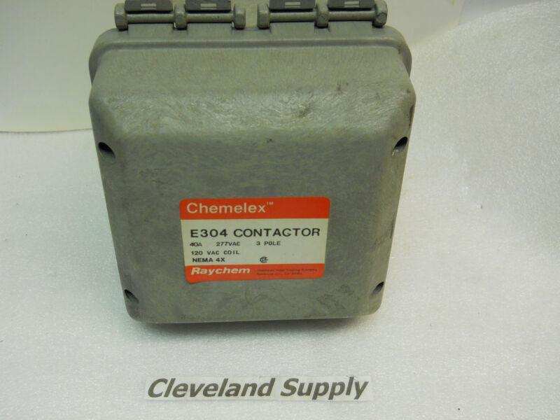 RAYCHEM CHEMELEX E304 CONTACTOR 40A 3P 120V COIL 4X ENCLOSURE NOS CONDITION