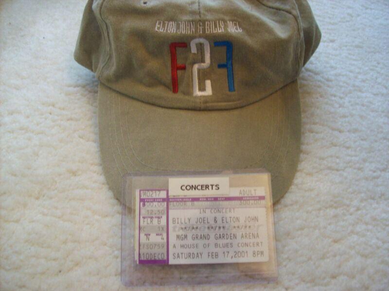 "ELTON JOHN & BILLY JOEL. ""FACE 2 FACE"". 2001. MGM GRAND. LAS VEGAS. CAP & STUB."