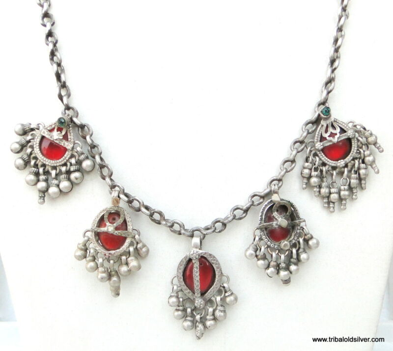 RARE! VINTAGE ANTIQUE ETHNIC TRIBAL OLD SILVER NECKLACE PENDANT RAJASTHAN INDIA