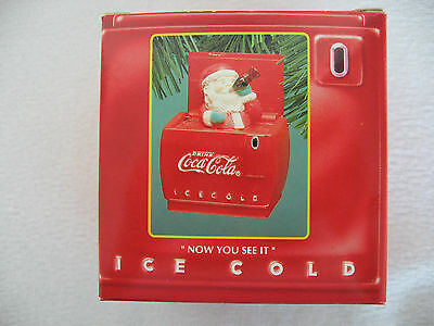 COKE Christmas Ornament–COCA-COLA SANTA DELIVERS–Now You See It–1994–New in Box!