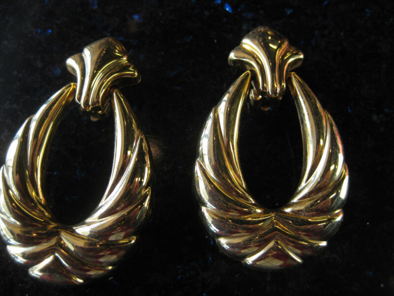 Vintage Goldone Gold Stud with Swinging Hoop Drop Clip Earrings
