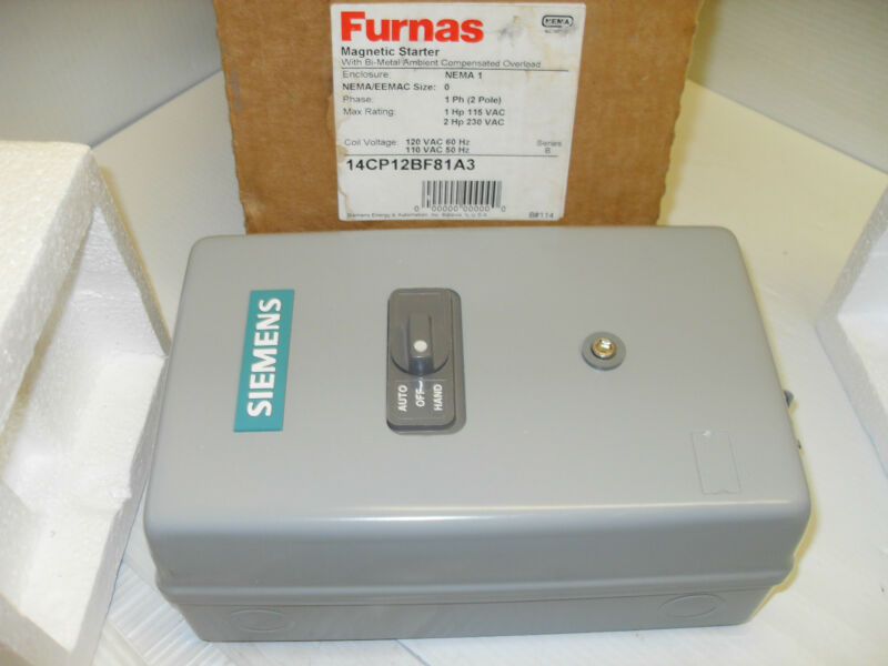 ***NEW IN BOX*** FURNAS/SIEMENS 14CP12BF81A3  Size-0 AUTO MANUAL MOTOR STARTER