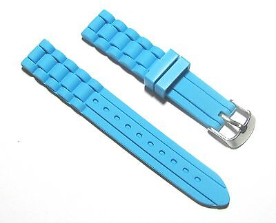 Light Blue Rubber Strap - New 22mm Silicone Rubber Watch Band Strap - Light Blue